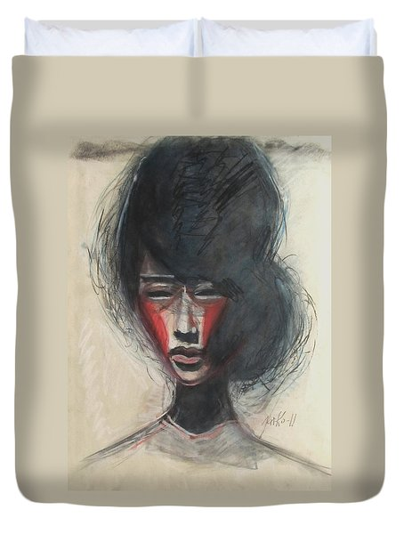 Duvet Cover featuring the painting Geisha Make Up by Jarmo Korhonen aka Jarko