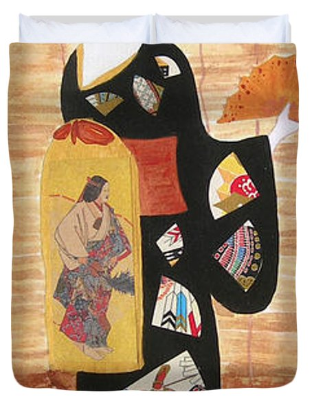Duvet Cover featuring the painting Geisha by Mini Arora