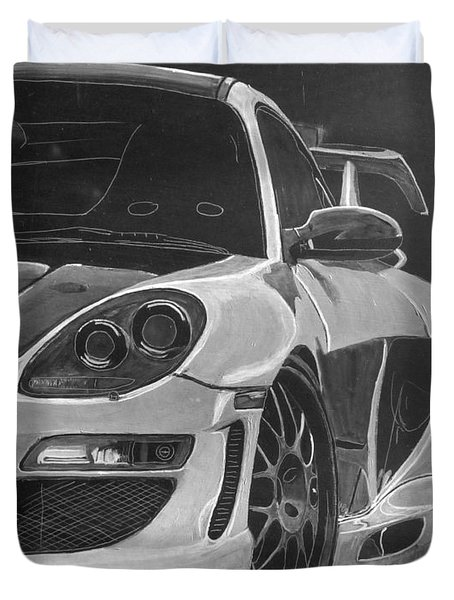 Duvet Cover featuring the painting Gemballa Porsche Left by Richard Le Page