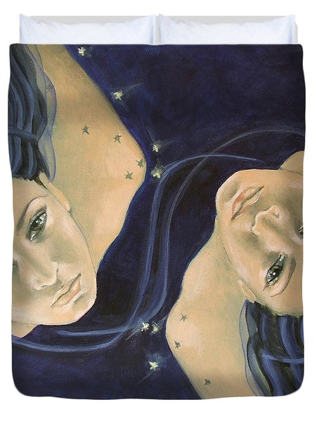 Gemini From Zodiac Series Duvet Cover by Dorina  Costras