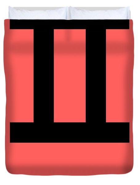 Gemini Zodiac Sign Black Duvet Cover