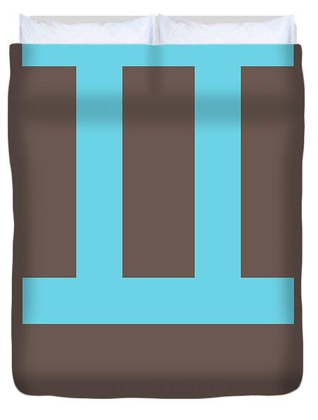 Gemini Zodiac Sign Blue Duvet Cover