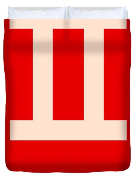 Gemini Zodiac Sign White On Red Duvet Cover