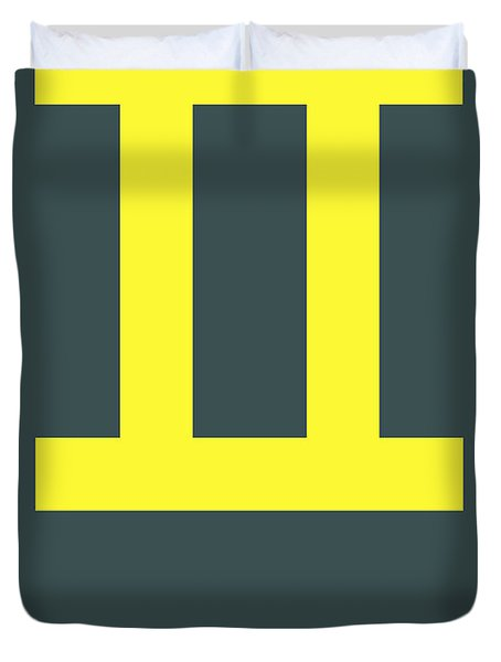 Gemini Zodiac Sign Yellow Duvet Cover