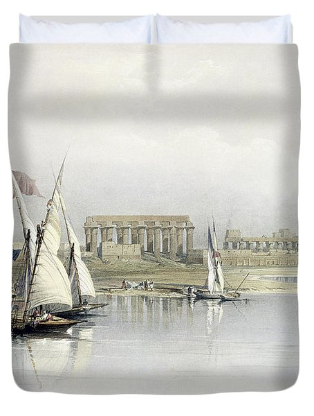 General View Of The Ruins Of Luxor From The Nile Duvet Cover