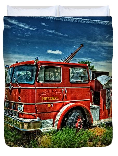 Duvet Cover featuring the photograph Generations Of Fire Fighting Equipment by Ken Smith