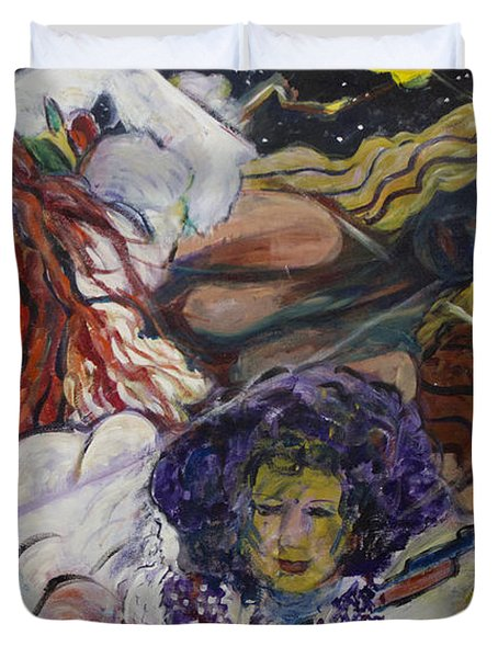 Duvet Cover featuring the painting Wind Whisperers  by Avonelle Kelsey