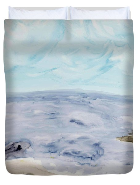 Duvet Cover featuring the painting Genesis by Linda Feinberg