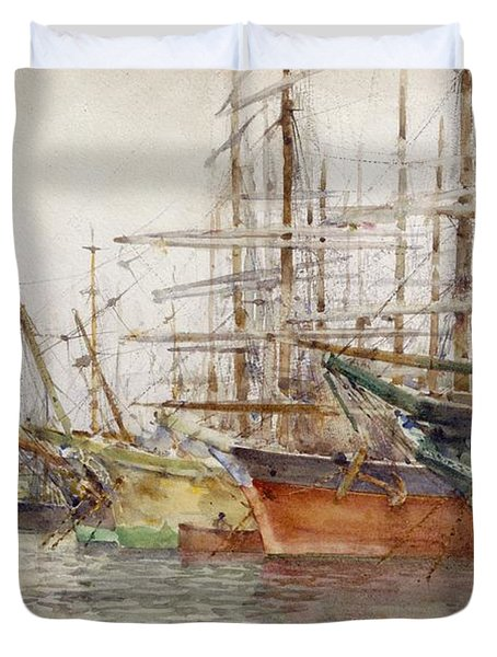 Genoa Harbour, 1904 Duvet Cover by Henry Scott Tuke