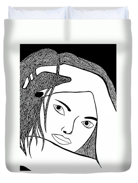 Duvet Cover featuring the drawing Genuine by Jamie Lynn