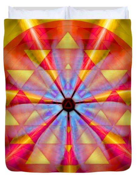 Geo-cosmic Sri Yantra Duvet Cover by Derek Gedney