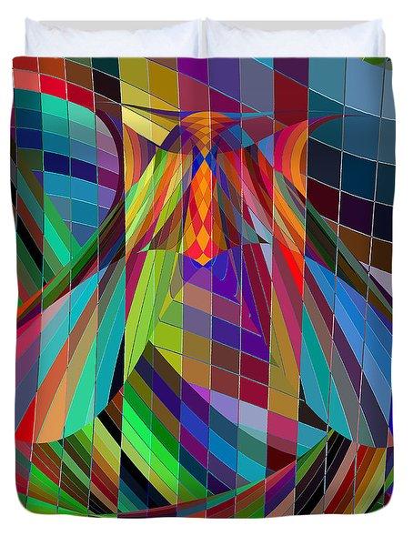 Geometric Alien Fly Duvet Cover