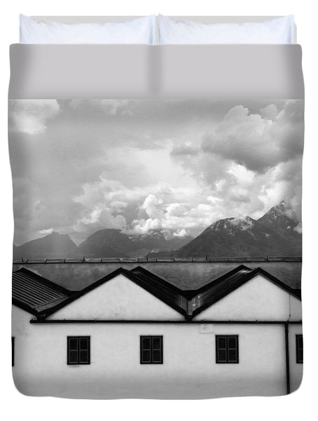 Duvet Cover featuring the photograph Geometric Architecture In Black And White by Brooke T Ryan