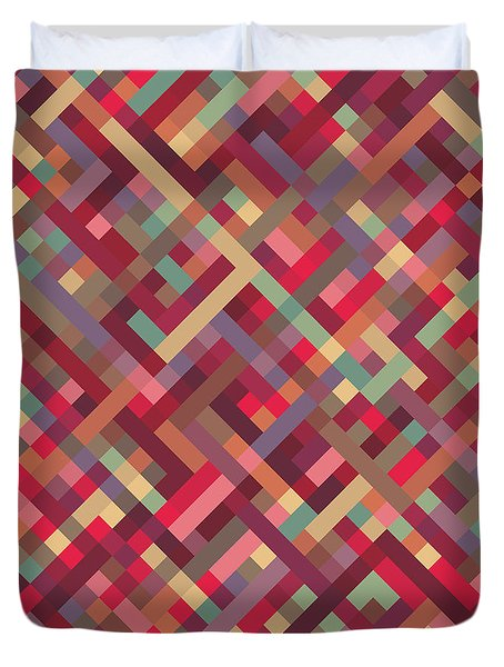 Geometric Lines Duvet Cover by Mike Taylor