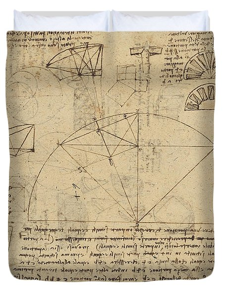 Geometrical Study About Transformation From Rectilinear To Curved Surfaces And Vice Versa From Atlan Duvet Cover by Leonardo Da Vinci