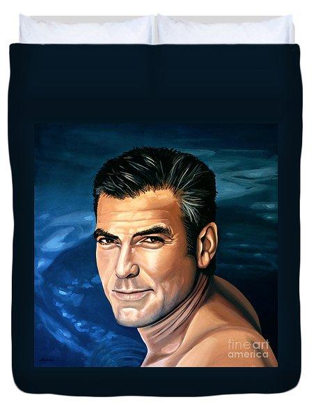 George Clooney 2 Duvet Cover by Paul Meijering