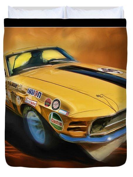 George Follmer 1970 Boss 302 Ford Mustang Duvet Cover