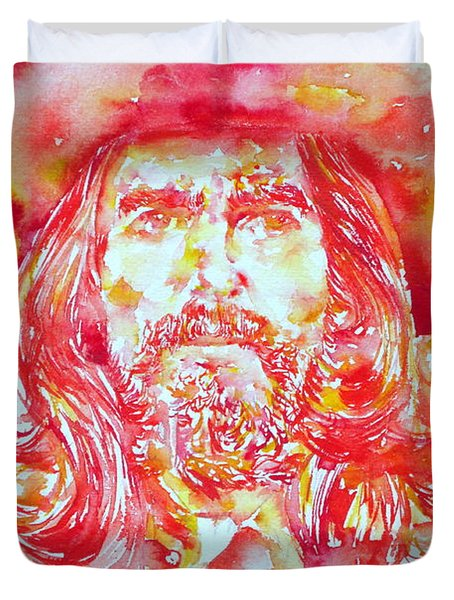 George Harrison With Hat Duvet Cover by Fabrizio Cassetta