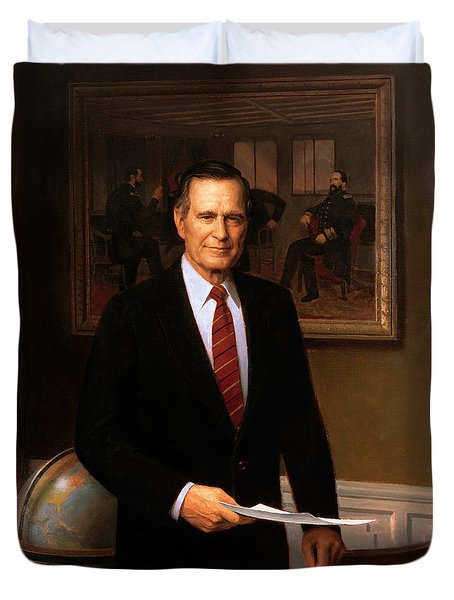 George Hw Bush Presidential Portrait Duvet Cover by War Is Hell Store