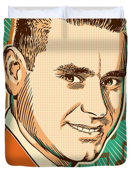 George Jones Pop Art Duvet Cover by Jim Zahniser