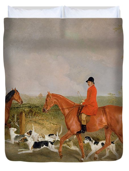 George Mountford, Huntsman To The Quorn, And W. Derry, Whipper-in, At John Ogaunts Gorse, Nr Melton Duvet Cover