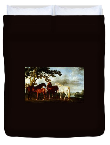 Duvet Cover featuring the painting Horses by George Stubbs