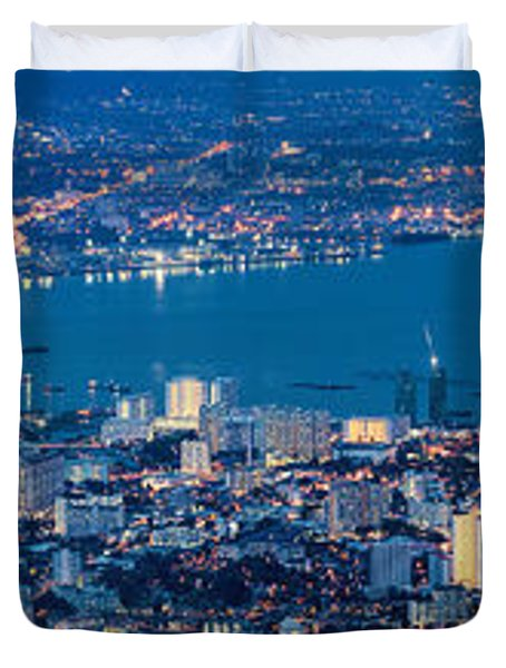 George Town Penang Malaysia Aerial View At Blue Hour Duvet Cover by Jit Lim