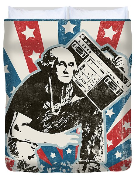 George Washington - Boombox Duvet Cover by Pixel Chimp