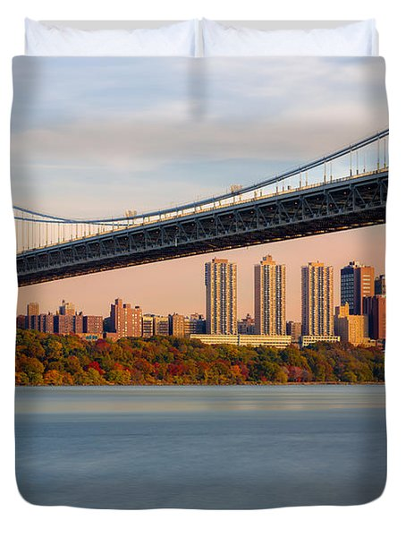 Duvet Cover featuring the photograph George Washington Bridge In Autumn by Susan Candelario