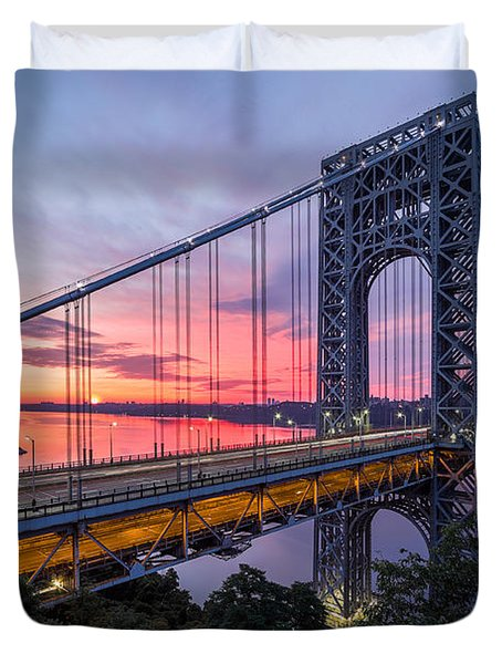 George Washington Bridge Duvet Cover by Mihai Andritoiu