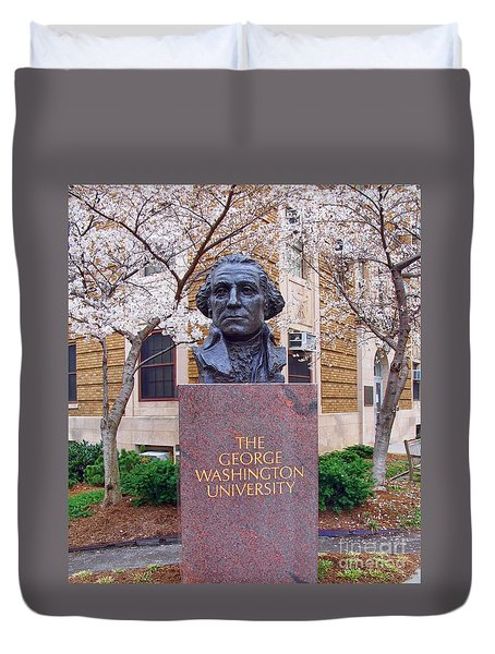 George Washington University Bust 1958 Duvet Cover