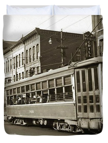 Georgetown Trolley E Market St Wilkes Barre Pa By City Hall Mid 1900s Duvet Cover