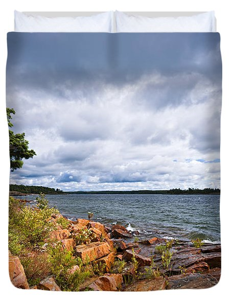 Georgian Bay Shore Duvet Cover by Elena Elisseeva