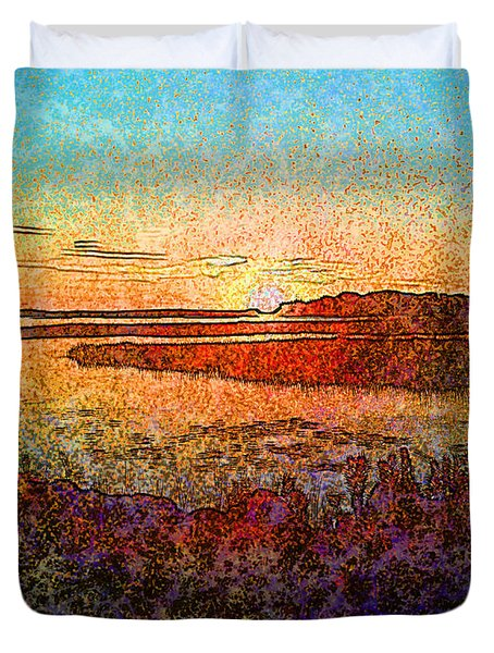 Georgian Bay Sunset Duvet Cover by Claire Bull