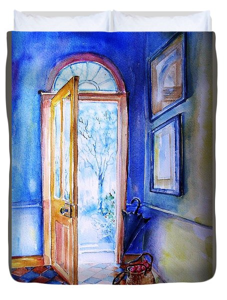 Winter Doorway Ireland    Duvet Cover by Trudi Doyle