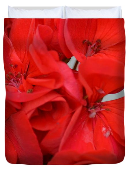 Geranium Red Duvet Cover by Maria Urso