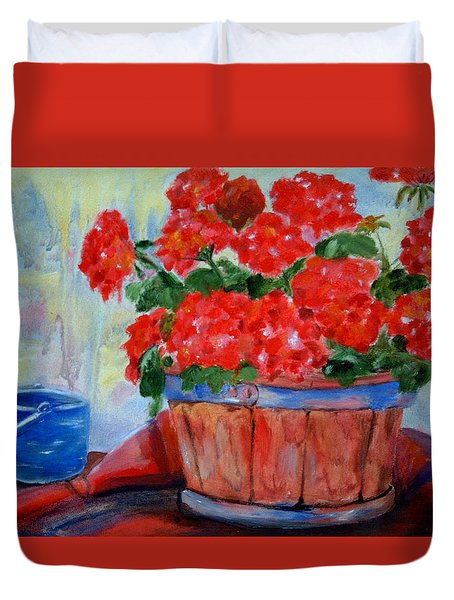 Geraniums Duvet Cover