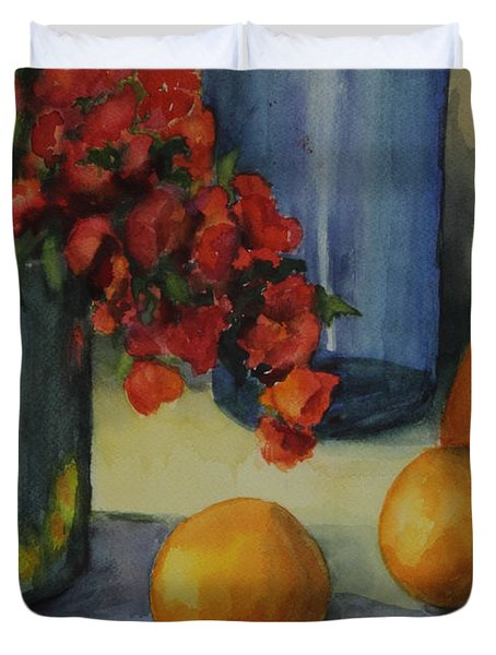 Geraniums With Pear And Oranges Duvet Cover