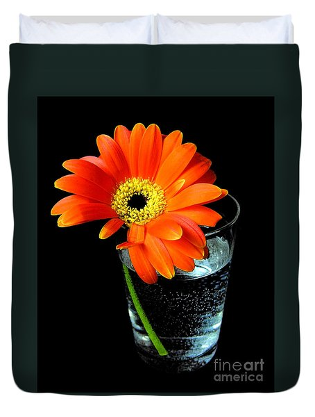 Duvet Cover featuring the photograph Gerbera Daisy In Glass Of Water by Nina Ficur Feenan