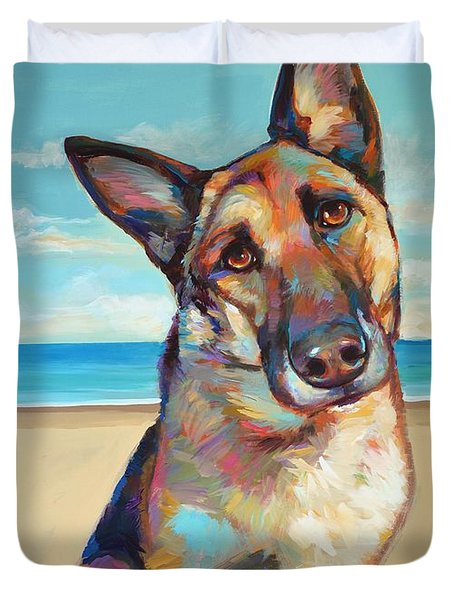 Duvet Cover featuring the painting German Shepard  by Robert Phelps