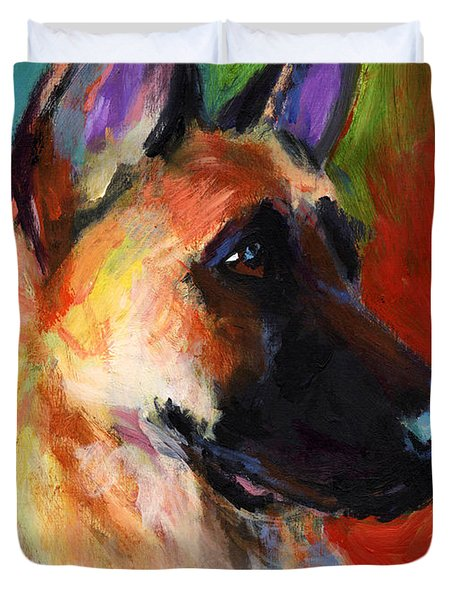 German Shepherd Dog Portrait Duvet Cover