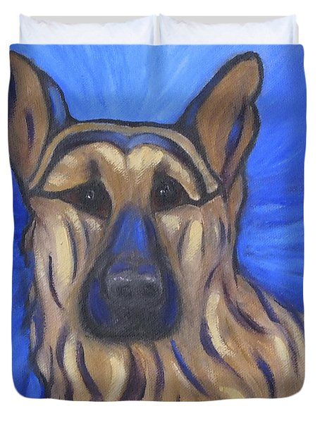 Duvet Cover featuring the painting German Shepherd by Karen Zuk Rosenblatt
