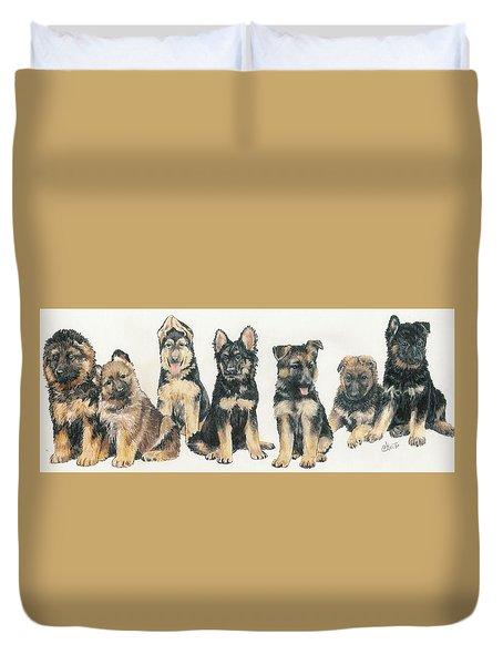 German Shepherd Puppies Duvet Cover by Barbara Keith