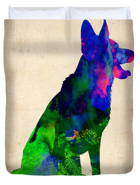 German Sheppard Watercolor Duvet Cover