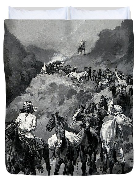 Geronimo And His Band Returning From A Raid Into Mexico Duvet Cover
