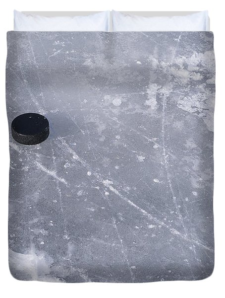 Get The Puck Outta Here Duvet Cover