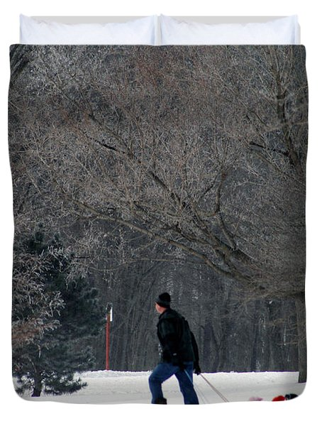 Duvet Cover featuring the photograph Getty-up Daddy by Kay Novy