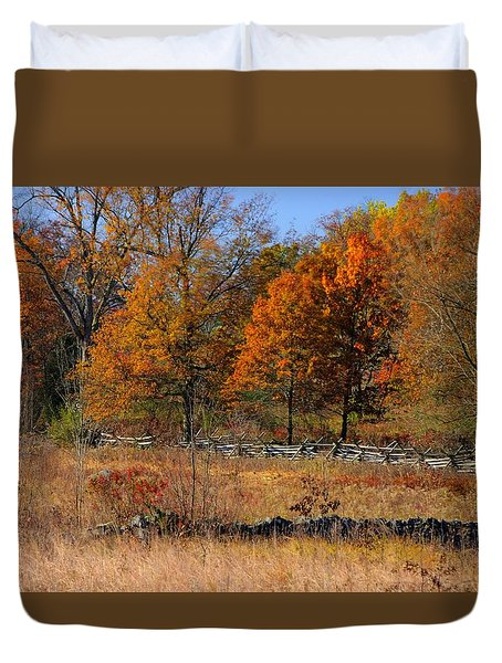 Gettysburg At Rest - Autumn Looking Towards The J. Weikert Farm Duvet Cover by Michael Mazaika
