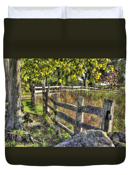 Duvet Cover featuring the photograph Gettysburg At Rest - Late Summer Along The J. Weikert Farm Lane by Michael Mazaika