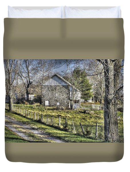 Duvet Cover featuring the photograph Gettysburg At Rest - Sarah Patterson Farm Field Hospital Muted by Michael Mazaika